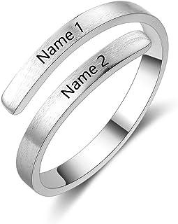 Anillo Pareja Ajustable Personalizado Anillos Plata Mujer con Nombre Ajustables Acero Inoxidable con Piedras Anillo Grabado Personalizado para BFF Novios