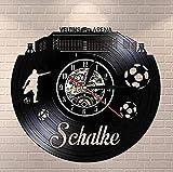 GVSPMOND Reloj de Pared con Disco de Vinilo Skyline Germany Sports Stadium Clock City Football Stadium Reloj de Pared