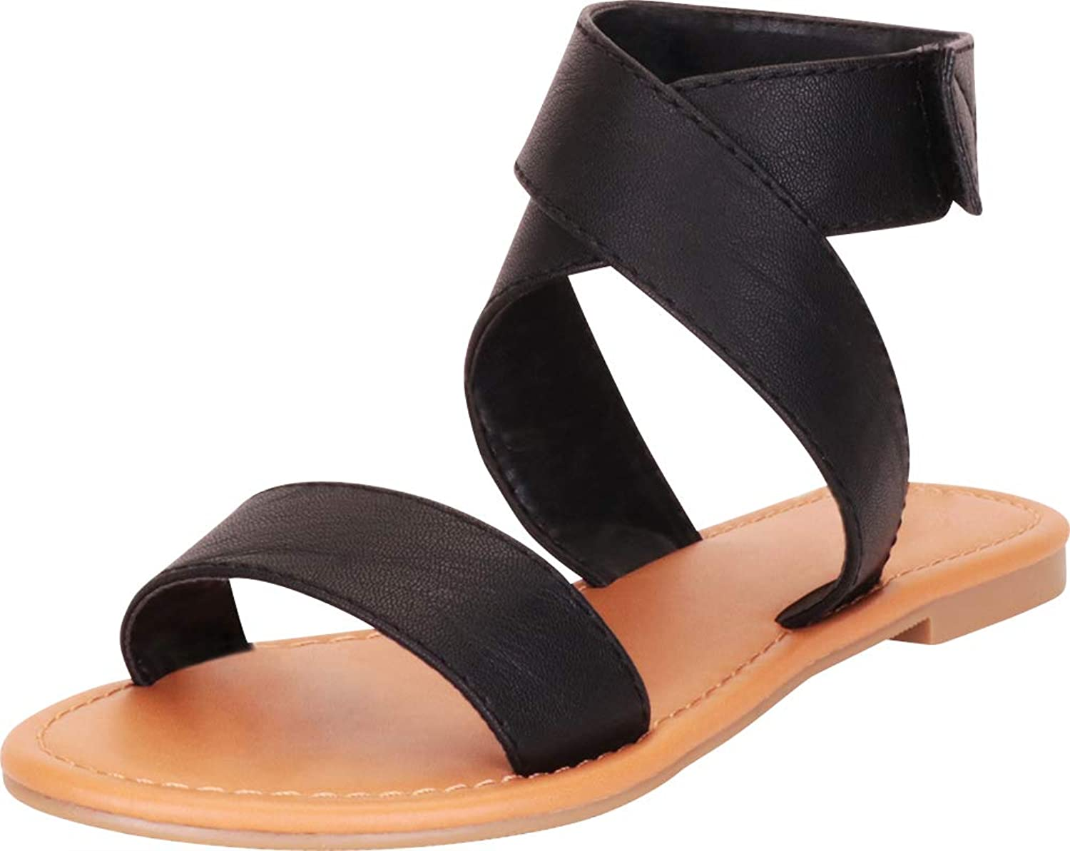 Cambridge Select Women's Open Toe Crisscross Ankle Strappy Flat Sandal