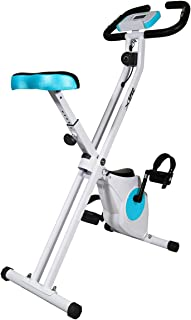 Xspec Indoor Foldable Stationary Upright Cardio Workout Exercise Cycling Bike w/Heart Rate 8-Level Magnetic Resistance LCD Monitor w/Phone Tablet Holder