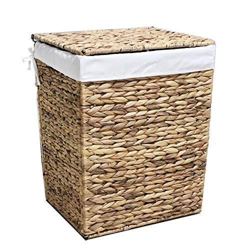 Wäschekorb aus Wasserhyazinthe, handgeflochten Wäschesammler Wäschesack mit Griffen in Naturfarben 43x34x52cm