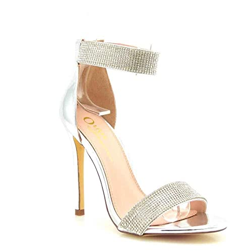 1608f4b22604 Olivia and Jaymes Luxury Sparkly Open Toe High Heel Ankle Strap Rhinestone  Sandals for Women