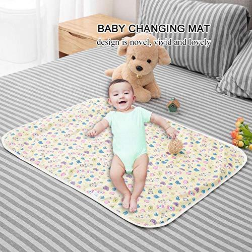 Colchoneta cambiador, Colchoneta cambiador para niños Impermeable Cómodo 60X80cm Algodón para cuna para cochecito de bebé(Yellow candy)
