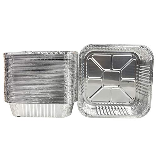 50pack- 8 x 8 Aluminum foil Pans Disposable ,Heavy Duty Square baking Cake Pans, Cooking Tins Homemade Breads Oven Pans,Foil Pans, Baking cake Pans Roasting Pans