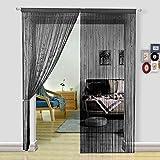 HSYLYM Pantalla de Cortinas de Cuerdas Cuentas,para decoración del hogar,Negro,244x229cm