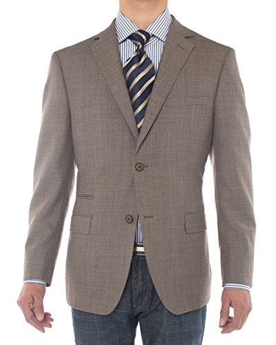 Luciano Natazzi Men's 2 Button 160'S Wool Suit Jacket Ticket Pocket Blazer Coat