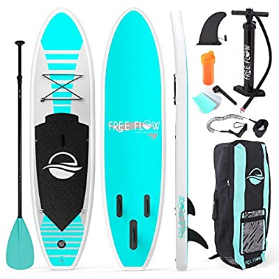 SereneLife Inflatable Stand Up Paddle Board (6 Inches Thick) with Premium SUP Accessories & Carry Bag | Wide Stance, Bottom Fin for Paddling, Surf Control, Non-Slip Deck | Youth & Adult Standing Boat