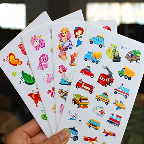 BAIMENG Niños y niñas Pegatinas de Papel de Dibujos Animados Pegatinas de recompensa de jardín de Infantes Pegatinas de bebé Princesa enseñanza temprana Mini Pasta pequeña 200 Hojas