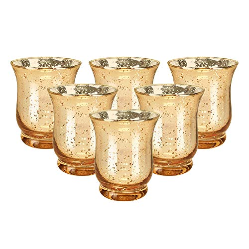 Just Artifacts Mercury Glass Hurricane Votive Candle Holder 3.5-Inch (6pcs, Speckled Gold) - Mercury Glass Votive Tealight Candle Holders for Weddings, Parties and Home Décor