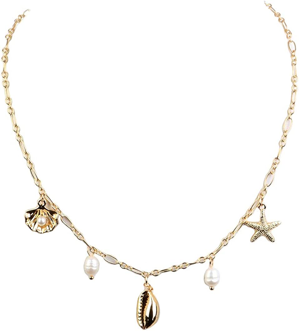 Fashion Jewelry ~ Seashell and Starfish Pendant Goldtone Necklace for Women Teens Girlfriends Birthday Gifts