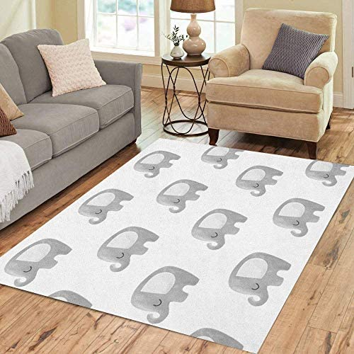 Pinbeam Area Rug Boy Elephant Pattern Baby Animal in Scandinavian Cartoon Home Decor Floor Rug product image