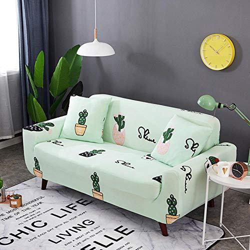 Funda Sofas 2 y 3 Plazas Cactus Verde Fundas para Sofa con Diseño Elegante Universal,Cubre Sofa Ajustables,Fundas Sofa Elasticas,Funda de Sofa Chaise Longue,Protector Cubierta para Sofá