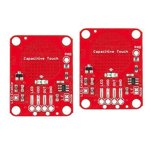 lahomia 2 unidades independientes de capacidad momentánea con sensor táctil Breakouts AT42QT1010, color rojo