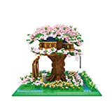 FHDD 5050 PCS Micro Diamond Block Sakura Treehouse Assembly Building Bricks Streetscape Cherry Tree House Juguetes para niños Regalos