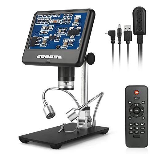 7 pulgadas LCD de pantalla grande Microscopio Digital AD207 1080P 100X microscopio digital HD Grabación de vídeo Captura de imagen de control remoto 8 LED ajustable de luz for cámara grabadora de víde