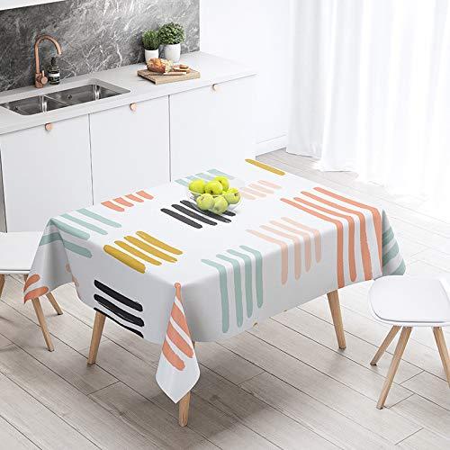 LIUJIU Mantel de lino de algodón lavable, rectangular con borla, ideal para cocina, comedor, decoración de mesa, 110 x 170 cm