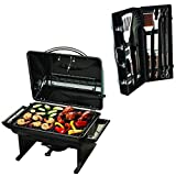 240 sq. in Portable Charcoal Grill + 10 Piece Grilling Set W Leather Storage Case - Stainless Steel - Easy To Transport - Perfect For Chefs, Restaurant, Patio BBQ, Gathering, Picnic, Tailgate, Camping