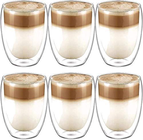 【6 Stück】Latte macchiato Gläser Set 6 x 350 ml | Thermogläser Doppelwandig | Für Tee, Kaffee, Latte, Cappuccino, Espresso, Bier