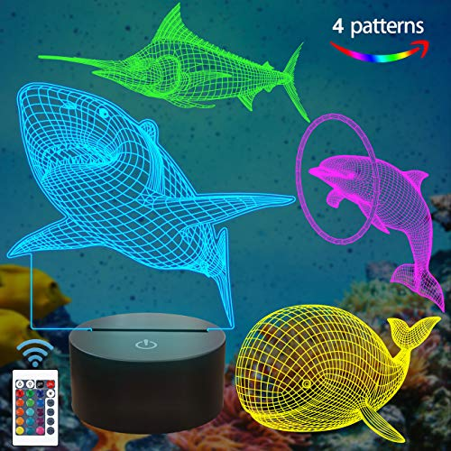 Coopark Ocean Sea Animals 3D Lamp Kits,Dolphin, Marlin,Shark,Whale 3D Night Light for Kids (4 Patterns) with Remote Control & 16 Colors Changing & Dimmable Function & Xmas Birthday Gifts for Boy Girl