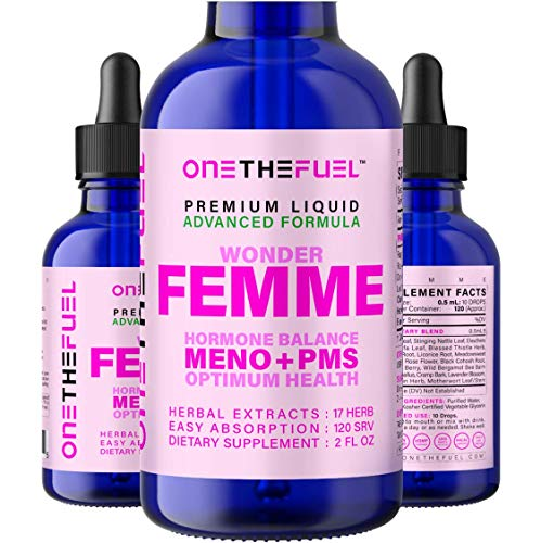 Wonder Femme l Hormone Balance Complex, Hot Flashes Menopause Relief + PMS Support #1 Natural 17-in-1 Herbal l Dong Quai, Vitex, Black Cohosh, French Rose + Tincture Extract 3X Fast Acting Liquid
