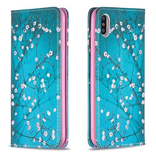 Miagon Brieftasche Hülle für iPhone X/XS,Kreativ Gemalt Handytasche Case PU Leder Geldbörse mit Kartenfach Wallet Cover Klapphülle,Blau Blume