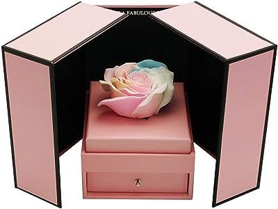 プリザーブドフラワー プリザーブドフラワーローズ枯れたバラ上品な不滅の花彼女のガールフレンドへの贈り物バレンタインデー記念日誕生日感謝祭 プレゼント (Color : Pink, Size : 13×13×18cm)