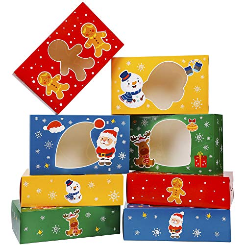 Lulu Home 24 Pieces Christmas Treat Boxes, Transparent Window 3D Xmas House Cardboard for Gifts and Candy, Holiday Party Favor Supplies Candy and Cookies Boxes