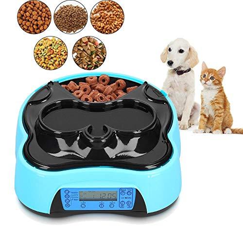 Futterautomat Katze, Automatischer Futterspender für Katze und Klein Hund, Pet Cat Feeder mit Timer, LCD Bildschirm und Ton-Aufnahmefunktion, 1,6 Liter Futter und Wasserspender