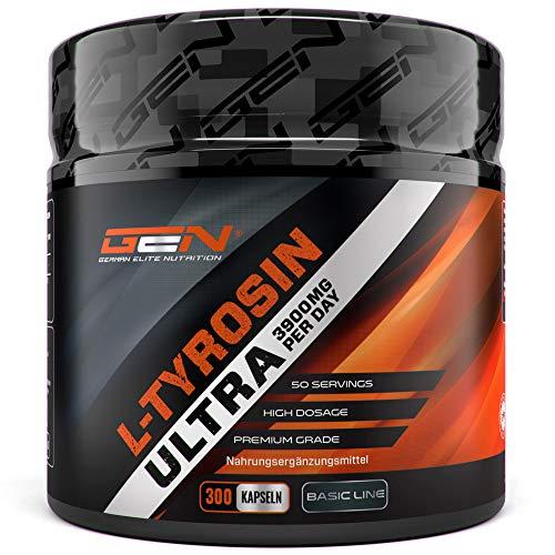 L-Tyrosin Ultra - 300 Kapseln - 650 mg pro Kapsel - 3900 mg pro Tagesportion - 50 Portionen - Hochdosiert - Premium Aminosäure - German Elite Nutrition