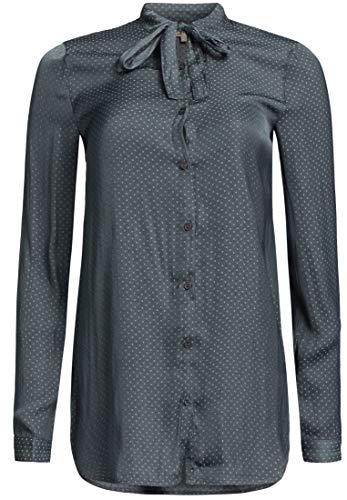 khujo dames blouse APRILLA Petrol gestippeld dots slipblouse lange mouwen blouse