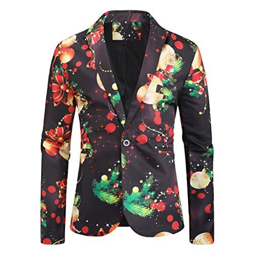 Weihnachtsjacke für Herren in Verschiedenen Drucken,Anzugjacke Sakko Slim Fit Blazer Jackett Xmas Anzug Festlicher Anzug für Herren Outwear Smoking Mantel Für Arbeit Hochzeit Party