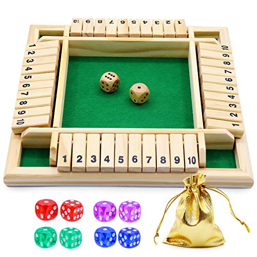 Shut The Box Dice Game Wooden Board Game a Classic 4 Sided Family Math Game with 10 Dices for Kids...