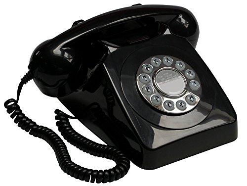 GPO 746 Teléfono fijo de botones con estilo retro de los años 70 - Cable en espiral, timbre auténtico - Negro