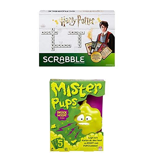 Mattel Games GMG29 - Scrabble Harry Potter Wörterspiel in deutscher Sprachversion + Mister Pups lustiges Kartenspiel und Kinderspiel geeignet für 2 - 6 Spieler