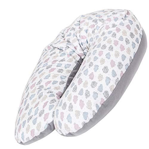 CEBA BABY Stillkissen - Schwangerschaftskissen aus 100% Baumwolle, mit EPS-Mikroperlen - Zertifiziert nach Öko-Tex Standard 100 - Antiallergisch, kindersicher, bequem - Länge 190 cm - Wolke