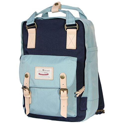 Himawari Multifunctional Backpack Fits 13-inch Laptop (Mint & Dark blue)