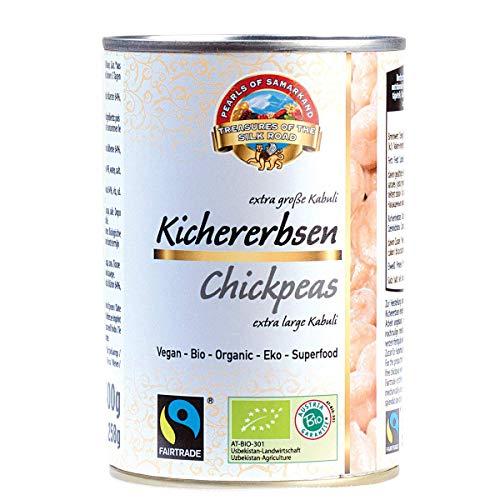 Bio Kichererbsen Dose glutenfrei 6x400g Fairtrade gentechnikfrei, wunderschöne aromatische gigantische Erbsen aus Usbekistan 2,4kg