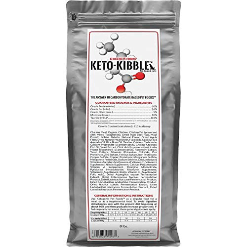 Ketogenic Pet Foods - Keto-Kibble – High Protein, Low Carb, Starch Free, Grain Free Dog & Cat Food - 8 lb