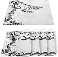 ランチョンマット4点セットダイニングキッチンテーブルマット断熱滑り止め洗える松の木水墨画ディナーランチョンマットセット