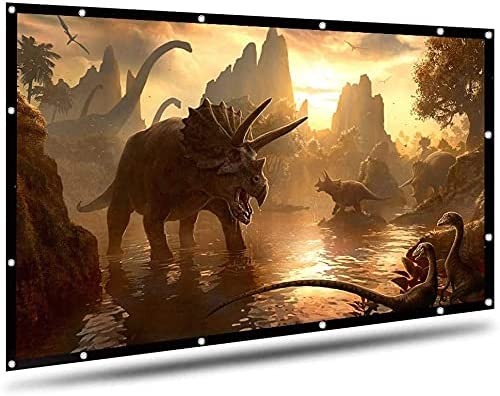 HGSDKECFS Portable Projection Screen 120 Inches Foldable HD Movie Projector Screen 16:9 Background Cloth for Travel Home Theater DLP White No Creases Black-Sided(Size:120 inch)