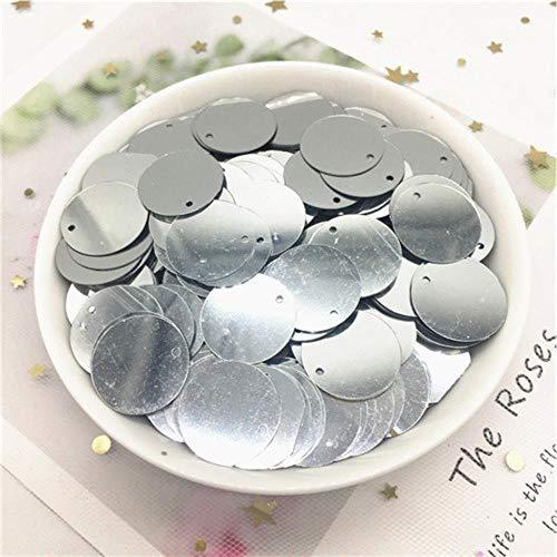 Lentejuelas sueltas redondas planas de 20 g, 10/15/20/25/30 mm, con 1 agujero lateral, lentejuelas, para costura, manualidades, accesorios de boda, plata, 15 mm, 275 unidades, 20 g
