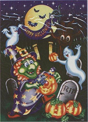 Decoracin electrosttica de bruja y cemetera para Halloween