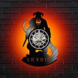 Levescale Skyrim Lighted Vinyl Wall Clock for Men and Women, Videogamers - Decoration for Living Room, Bedroom, Office - The Elder Scrolls, Videogame (red)
