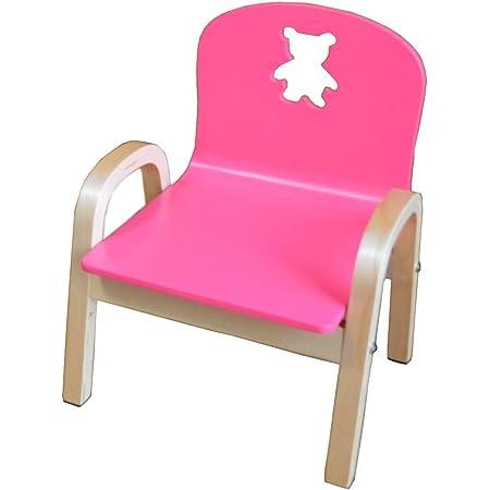 「組立済」MAMENCHI 木製キッズチェア クマ (ピンク)