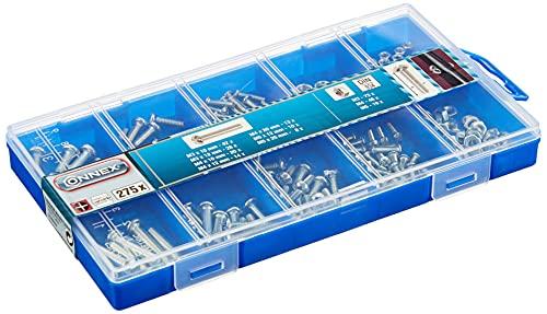 Connex Gewindeschrauben-Sortiment 275-teilig - Diverse Größen - Rundkopf - PH Phillips-Antrieb - Vollgewinde - Verzinkt - Inklusive Muttern / Schrauben-Set / Sortimentskasten / DP8500055