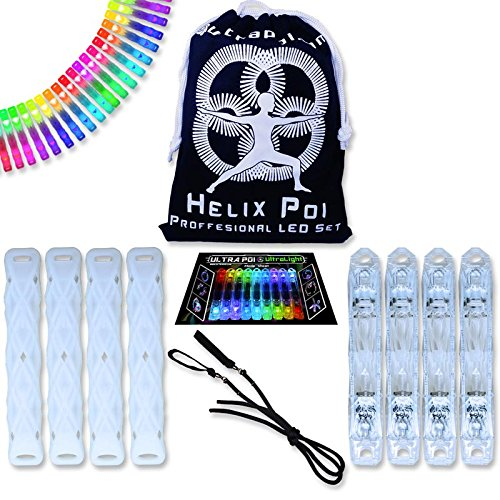 UltraPoi – Double Helix Poi - LED Poi Set - Best Light Up Glow Poi - Flow Rave Dance - Spinning Light Toy