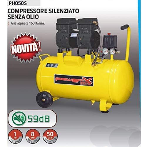 COMPRESSORE 50 LT SILENZIATO A SECCO ITALY 8 BAR 1 HP 2 ITALY 170L/M PISTONI TEFLON SENZA OLIO PH050S