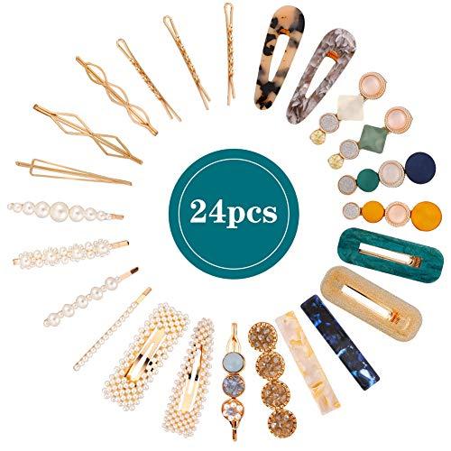 24 Pièces Pinces à Cheveux Perles Clips de Strass Barrette Acrylique Piques Épingles à Cheveux Bobby Pins Mode Filles Femmes Dames Anniversaire Cadeaux Décoratifs Cheveux Accessoires