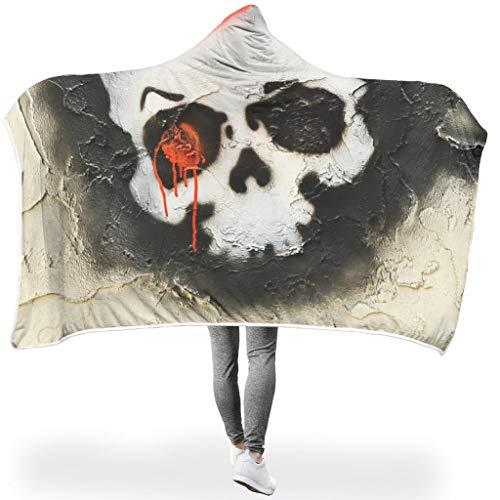 O2ECH-8 Fledermausdecke Skull Graffiti Design Drucken Sherpa Winter Kapuzen Robe - cool Universal für Alltag Verwenden White #60 * 40#