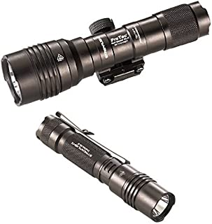 Streamlight Pro Tac Rail Mount HL-X, 1,000 Lumen Professional Tactical Flashlight with High/Low/Strobe Dual Fuel and ProTac 2L-X 500 lm Professional Tactical Flashlight, Black